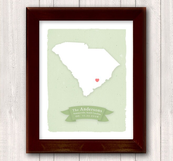 SOUTH CAROLINA Art Print Personalized Home Decor Custom