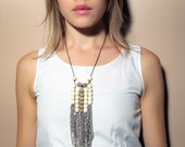 Waterfall Chain and Wood Bead Necklace