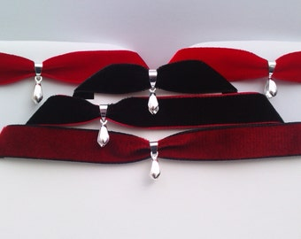Choose Colour Velvet 16mm Ribbon Choker Necklace With Silver Plated Pinch Bail (DIY)... hang your own charm pendant -yj