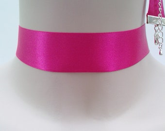Classic Plain HOT PINK Double Satin 25mm 1inch Ribbon Choker Necklace- xa... or other colours, all handmade to size :)