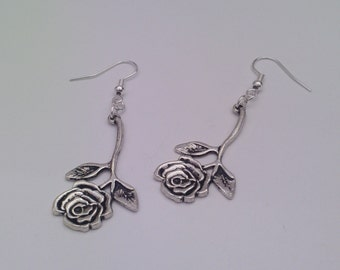 Tibetan Silver Dangle ROSE FLOWER Charm Silver Plated Ear Wire (or clip ons) Dangle Earrings - bd