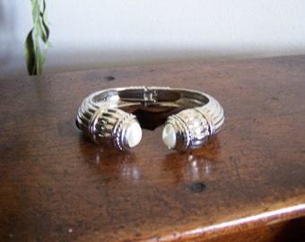Vintage Wedding Bracelet Big Pearl Clamp Wristlet 1970's