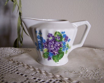 """Wild Lavender Violets """"Forget me Nots"""" Vintage Lefton China Restaurant Table Creamer Pitcher"""