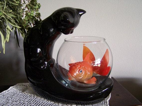 black fish bowl cat vintage california pottery tv topper. Black Bedroom Furniture Sets. Home Design Ideas