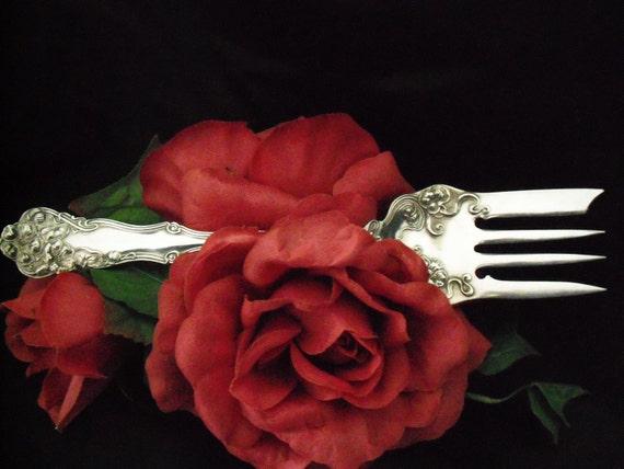 Antique Wm. Rogers Meat Fork BERWICK aka DIANA circa 1904 Ornate Victorian Silver Plate