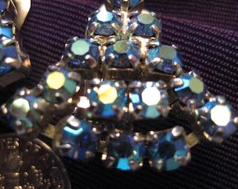 Vintage Aurora Borealis Blue Rhinestone Earrings Clip-On