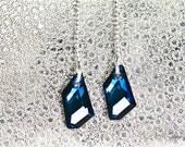 Dangle Crystal Earrings Bermuda Blue Swarovski Long Dangling Blue Elegant Glamour Jewelry