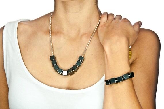 Beaded Hematite Chunky Necklace / Black Hematite Mother Day Gift