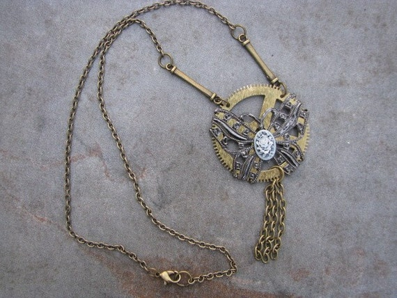 SALE - STEAMPUNK NECKLACE Pendant Grandfather Clock Gear Wrapped with Butterfly Filigree and Small Cameo