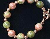 Unakite and Copper Bracelet