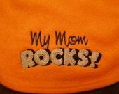 Baby Bib, My Mom Rocks! Baby Embroidery, Orange Bib, Baby Shower, Gift Idea for Baby