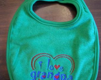 Baby Bibs*, Bib Embroidered, I love Grandpa Bib, Baby Shower Gift, Baby Gift, Baby Boy Bib, Baby Girl Bib, Child Care, Bibs