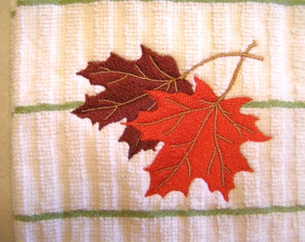 Kitchen Towel, Autumn Leaves, Embroidered Kitchen Towel, Maple Leaves, Fall Kitchen Decor, Gift Idea for Her, Housewarming Gift