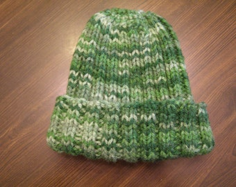 Child Toddler Knit Hat- Multi Shades of Green Handmade