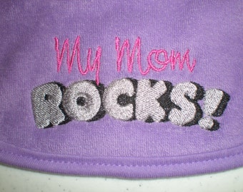 "Dark Purple Embroidered Bib ""My Mom Rocks"" Baby Girl Newborn Baby Shower Gift"