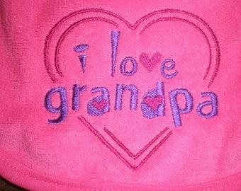 Baby Bib, I Love Grandpa, Bright Pink Bib, Baby Girl, Bib Embroidery, Baby Shower Gift Idea