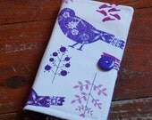 Purse Organizer with Notepad and Pen in Purple Birds