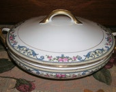 Vintage Noritake Fine Porcelain China Chanlake Pattern Round Covered Vegetable Serving Bowl With Handles Circa 1921