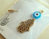 25% OFF Fatima's Hand charm & Evil Eye Pin / Brooch - Turquoise - Gold Plated