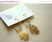 25% OFF Small Filigree Fatima's Hand Earrings - Turquoise - Gold Plated