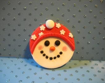 Happy Snowman Edible Cupcake Topper -set of 12