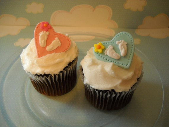 Hearts and Baby Feet Fondant Edible Cupcake Toppers 1 Dozen  you choose colors