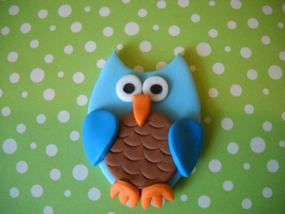 Blue Owl Cake and Cupcake Toppers Set of 12