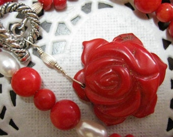 Red Coral Rose and Coral and Pearl Beads Necklace