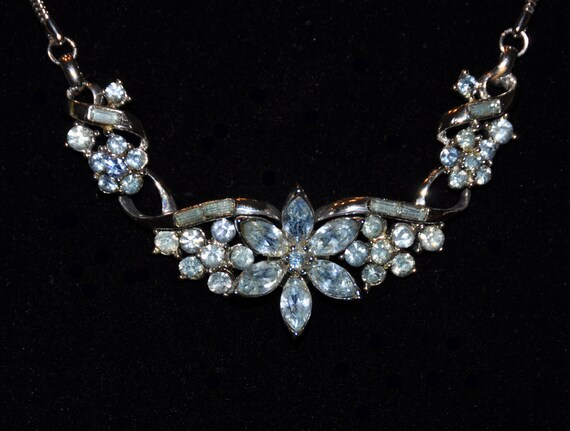 """Vintage 1955 Coro """"Honore"""" Light Blue Rhinestone Necklace and Earrings Set"""