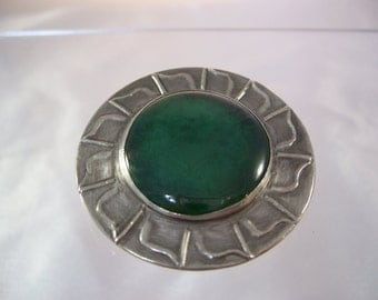 Ruskin Style Arts & Crafts Stone Pewter Brooch