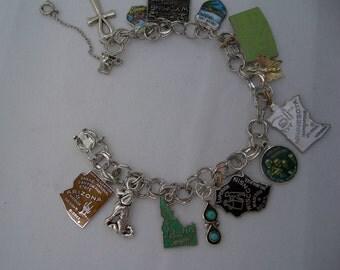 Sterling Silver Travel Charm Bracelet 1970s  JULY 1975