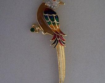 Large Vintage Rhinestone & Enamel Bird Brooch
