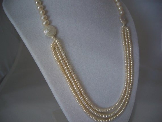 Pearl Necklace Cultured Freshwater Unique Wedding