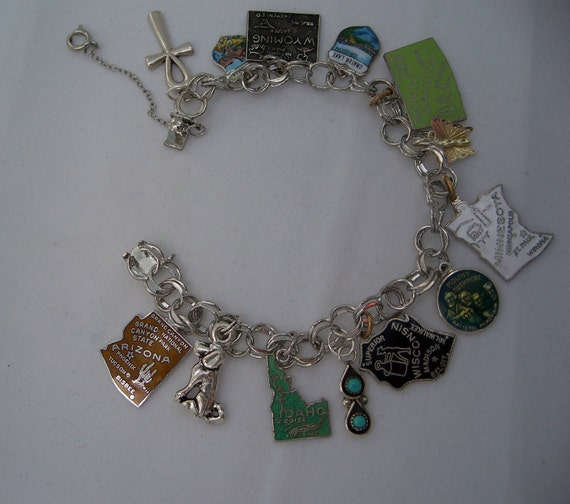 sterling silver travel charm bracelet 1970s by