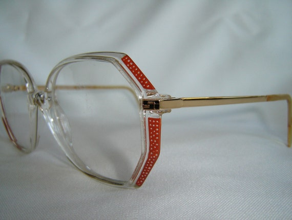 Vintage '80's Eyeglasses, Sunglasses, W. Germany, Red w/Polka Dots/Crystal, New Old Stock