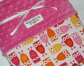 Owl Minky Baby Blanket - Urban Zoologie Pink Owls With Hot Pink Dot Minky For Your Baby Girl