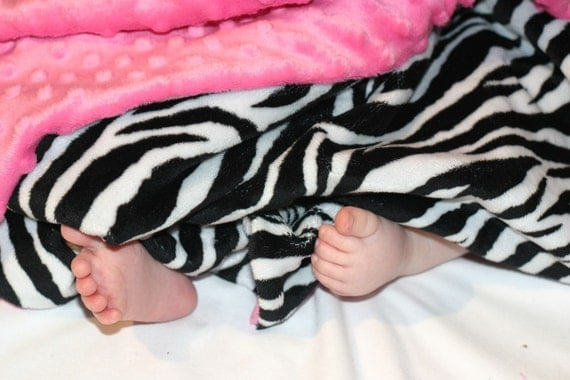 READY TO SHIP- Zebra Minky Baby Blanket in Hot Pink Dot Minky For Your Sassy Little Girl