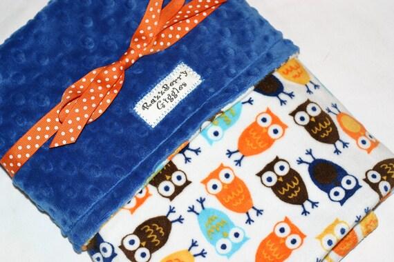 READY TO SHIP- Double Minky Baby Blanket- Blue & Orange Night Owl Minky Baby Blanket With Navy Blue Dot Minky For Your Baby Bird