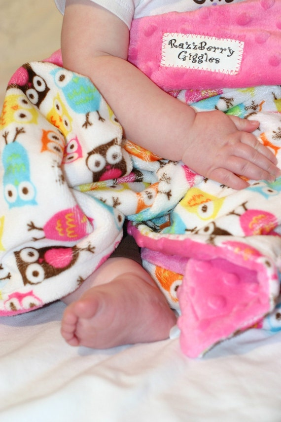 Double  Minky Baby Blanket- Carnival Owl Minky With Hot Pink Dot Minky For Your Baby Girl