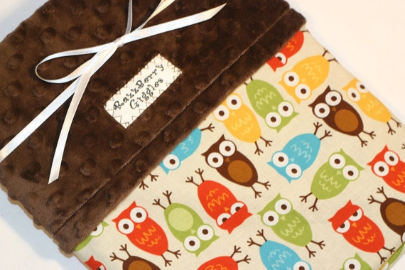 Urban Zoologie Bermuda Owls Minky Baby Blanket With Chocolate Brown Dot Minky For Your Baby Bird