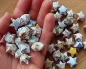 Upcycled Atlas Origami Stars, set of 24.
