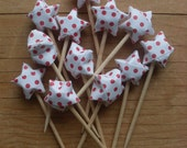 Red Polka Dot Party Picks or Cupcake Toppers, set of 12.