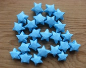 Sky Blue Origami Stars, Upcycled Paper, set of 24.