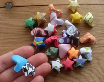 Random Grab Bag of 24 Origami Hearts and Stars. Party Supplies, Bargain Priced.
