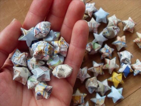 Upcycled Atlas Origami Stars, set of 24.