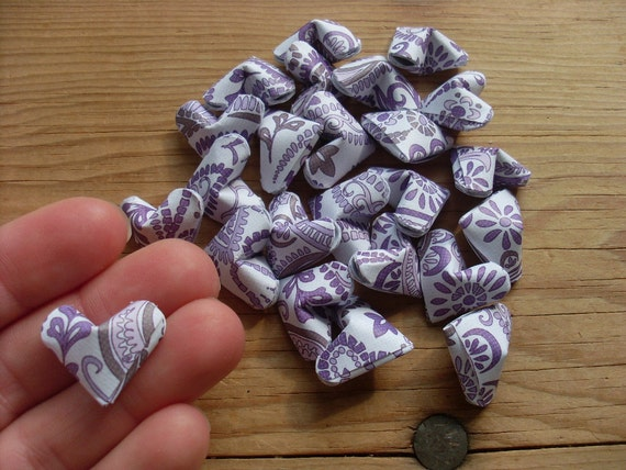 Purple Paisley Origami Hearts, set of 24.