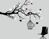 black and white tree branch decal with birds - vinyl wall decal
