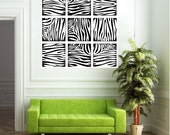 Wall Decal -  Zebra Print Squares -  Vinyl Wall Art