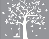 vinyl decal tree nursery - white tree with birds & butterflies- nursery wall art