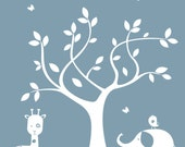 Nursery Wall Decals - Children's silhouette Tree Decal - Nursery Wall Art